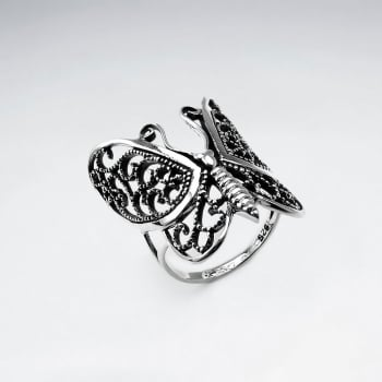 Oxidized Silver Filigree Butterfly Ring