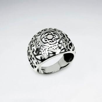 Oxidized Silver Filigree Dome Ring