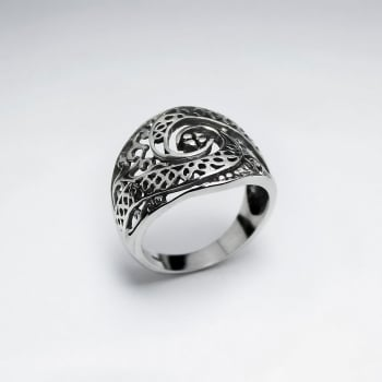 "Oxidized Silver Filigree ""Eye"" Ring"