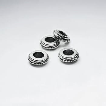 Oxidized Silver Flat Circle Bead Pack Of 5 Pieces