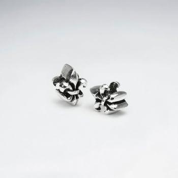 Oxidized Silver Fleur De Lis Beads Pack Of 2 Pieces