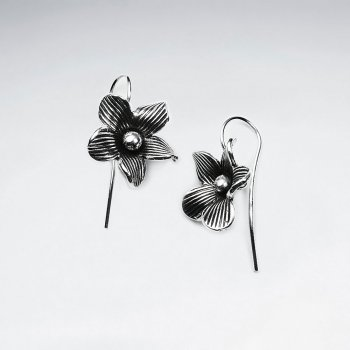 Oxidized Silver Flower Blossom Dangle Earrings