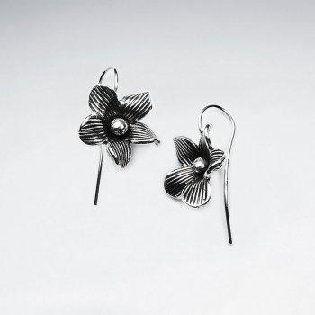 Oxidized Silver Flower Blossom Dangle Earrings