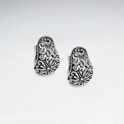 Oxidized Silver Flower Blossom Filigree Pattern Petite Earrings