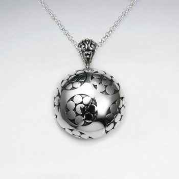 Oxidized Silver Flower Embossed Round Disc Pendant