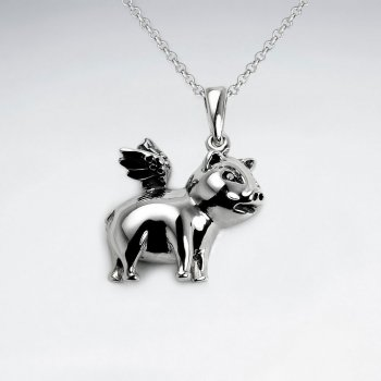 Oxidized Silver Flying Pig Charm Pendant