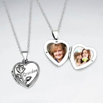 "Oxidized Silver ""Grandma"" Heart Locket"