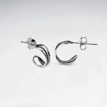 Oxidized Silver Half Hoop Openwork Multi-Strand Twist  Earrings