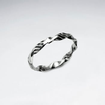 Oxidized Silver Hammered Texture Ring