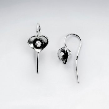 Oxidized Silver Heart Shaped Textured Earrings
