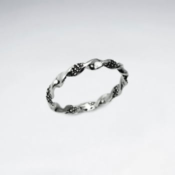 Oxidized Silver Helix Twist Textured Ring