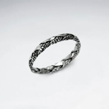 Oxidized Silver Interwoven Textured Braid Ring