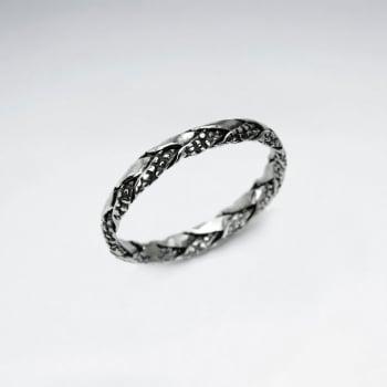 Oxidized Silver Interwoven Textured Braid Ring