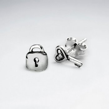 "Oxidized Silver ""Key To My Heart"" Petite Lock and Key Earrings"