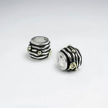 Oxidized Silver Lined CZ Beads