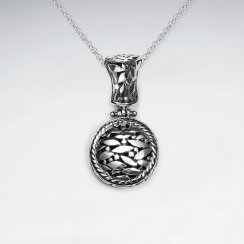 Oxidized Silver Medal Honors Inspired Circle Drop Pendant