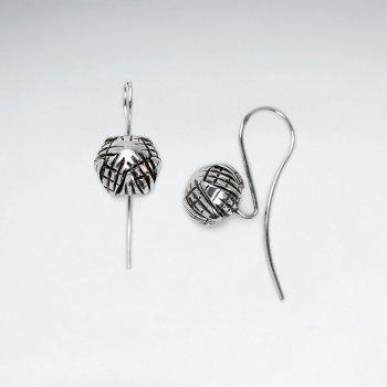 Oxidized Silver Modern Bloom Inspired Earrings