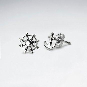 Oxidized Silver Nautical Anchor and Ship Wheel Petite Stud Earrings