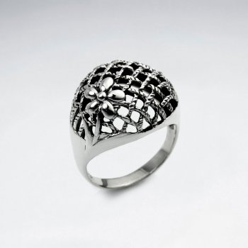 Oxidized Silver Net Inspired Ring
