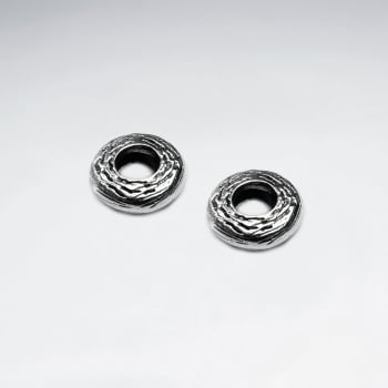 Oxidized Silver Open Circle Bead Pack Of 5 Pieces
