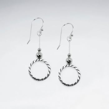 Oxidized Silver Open Circle Dangle Earrings