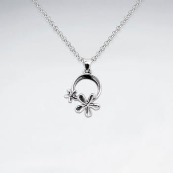 Oxidized Silver Openwork Circlet and Flowers Pendant