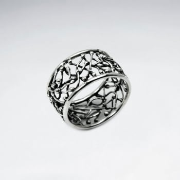 Oxidized Silver Openwork Crisscross Lines Ring