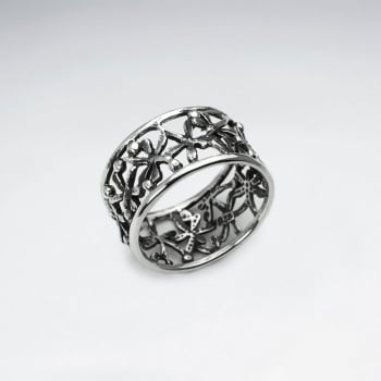 Oxidized Silver Openwork Flower Ring