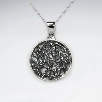 Oxidized Silver Ornate Engraved Pendant