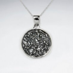 Oxidized Silver Ornate Engraved Pendant