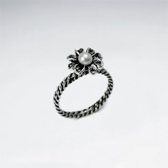 Oxidized Silver Pearl Studded Blossom Ring