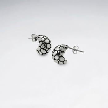 Oxidized Silver Petite Half Hoop Stud Post Scale Textured Earrings