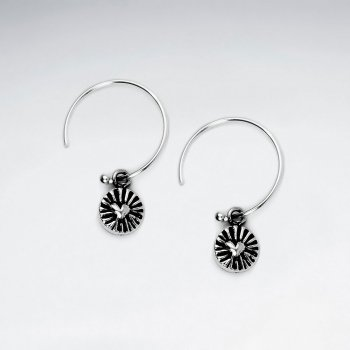 Oxidized Silver Petite Heart Engraved Decorated Earrings