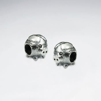 Oxidized Silver Pigs Bead Pack Of 5 Pieces