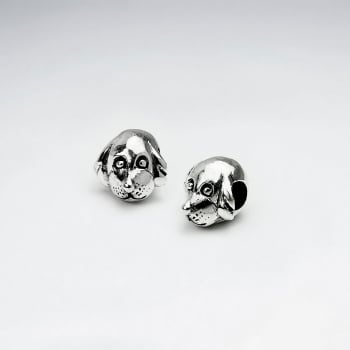 Oxidized Silver Puppy Dog Face Beads