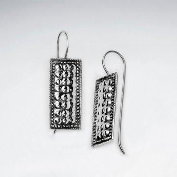 Oxidized Silver Rectangle Filigree Dangle Drop Long Shepherds Hook Earrings