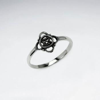 Oxidized Silver Regal Lure Textured Openwork Ring
