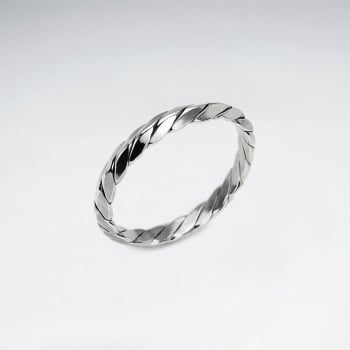 Oxidized Silver Rope Twist Ring