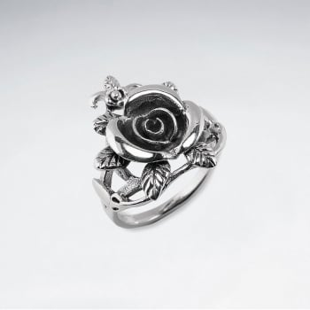 Oxidized Silver Rose Blossom Ring