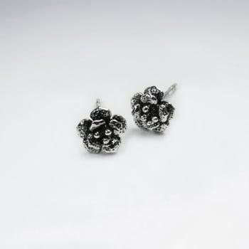 Oxidized Silver Rose Blossom Stud Earrings