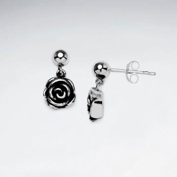 Oxidized Silver Rose Dangle Stud Earrings