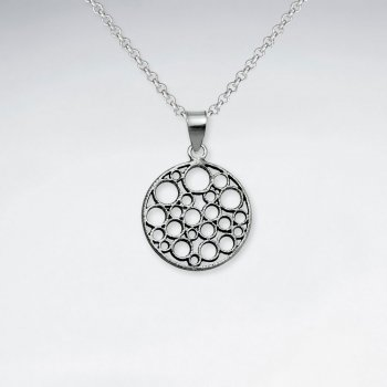 Oxidized Silver Round Cutout Filigree Circle Pendant