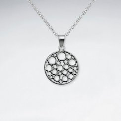 Oxidized Silver Round Cutout Filigree Circle Pendant