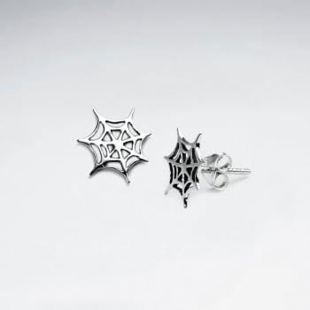 Oxidized Silver Spider Web Stud Earrings