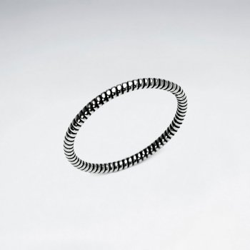 Oxidized Silver Spring Twist Textured Ring