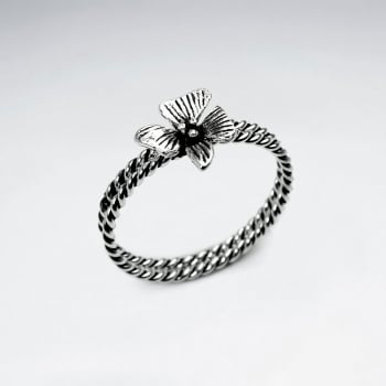 Oxidized Silver Stackable Twist Band Flower Ring