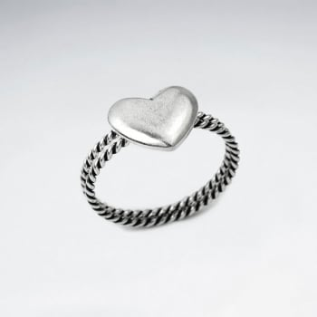 Oxidized Silver Stackable Twist Band Heart Ring