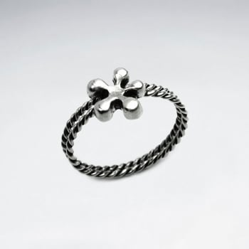 Oxidized Silver Stackable Twist Band Splat Ring