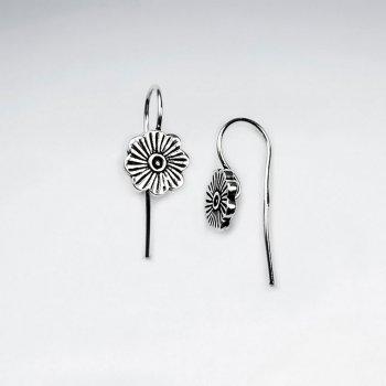 Oxidized Silver Sunflower Inspired Earrings