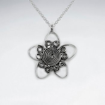 Oxidized Silver Swirl Flower Elaborate Wirework Design Pendant